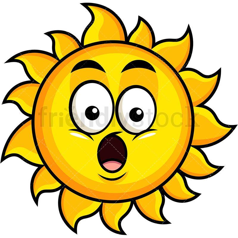 Surprised Sun Emoji Cartoon Vector Clipart Friendlystock Sun Emoji Emoji Clipart Clip Art