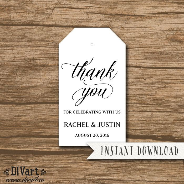 Rustic Wedding Favor Tag Template Thank You Tag Hang Tag