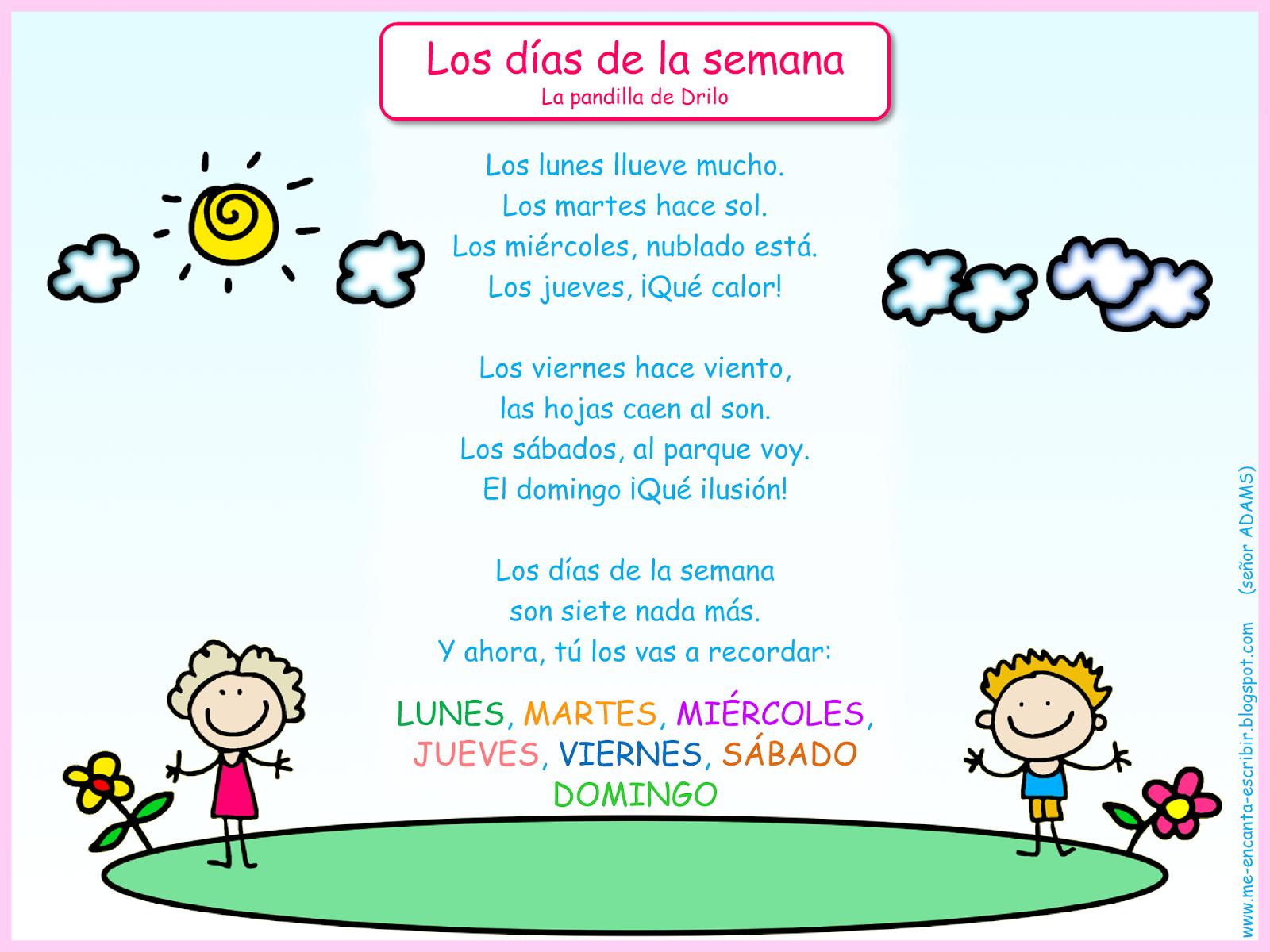 Me Encanta Escribir En Espanol Cancion Los Dias De La Semana La Pandilla De Drilo