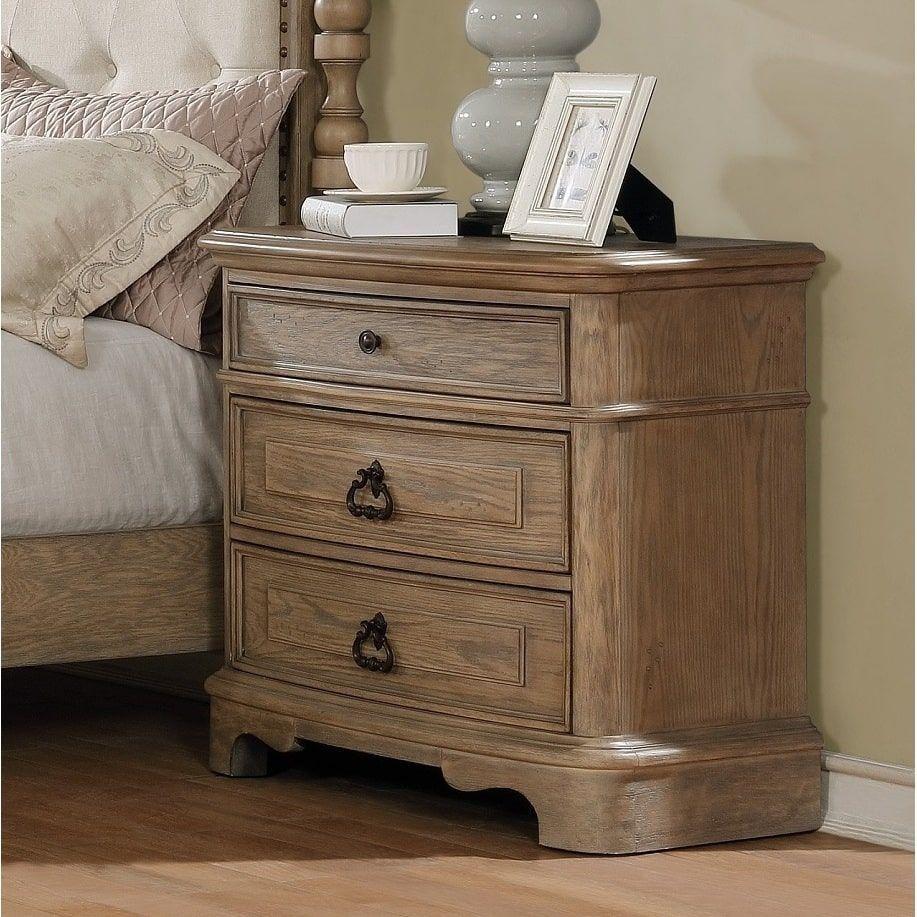 Piraeus 296 White Wash 3 Drawer Nightstand White Wash Blue Furniture 3 Drawer Nightstand 5 Piece Bedroom Set
