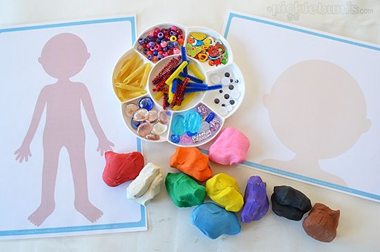 Free printable people play dough mats - just print, laminate and create!