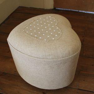 Beige Heart Pouffe Footstool