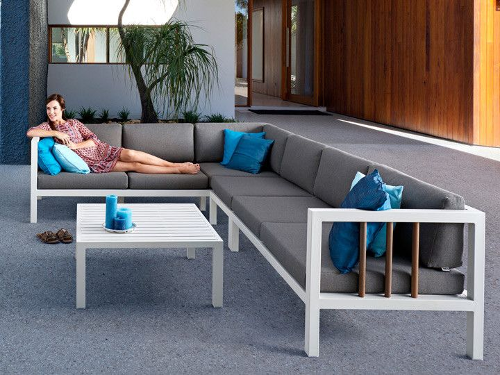 LUNA Lounge Garten Sofa, Applebee | Alu Weiß & Stoff Grau #garten ...