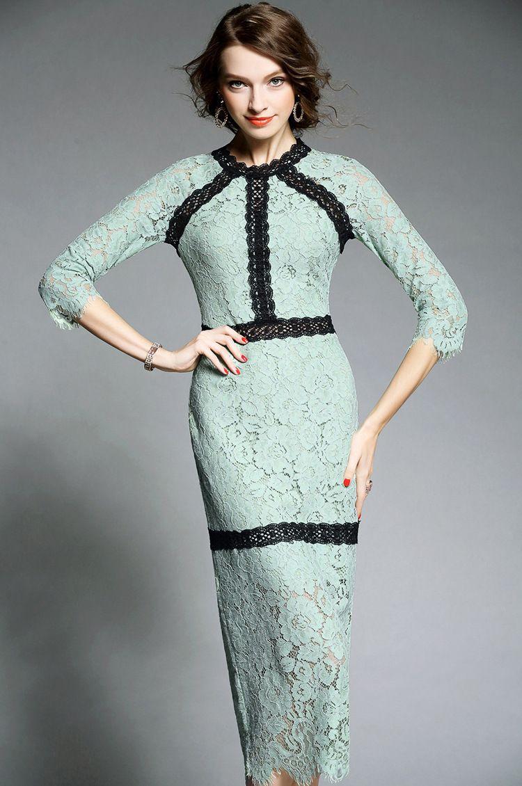 Chic 9 High Quality European Fashion Elegant OL Lace Dresses Women ...