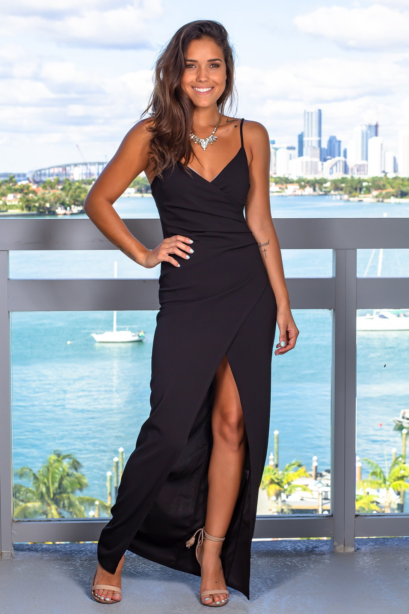 Black maxi dress with ruched side with images black