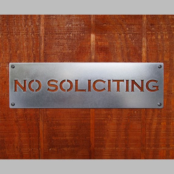 Landscape Commercial Sign: No Soliciting Sign In Stainless Steel Classic