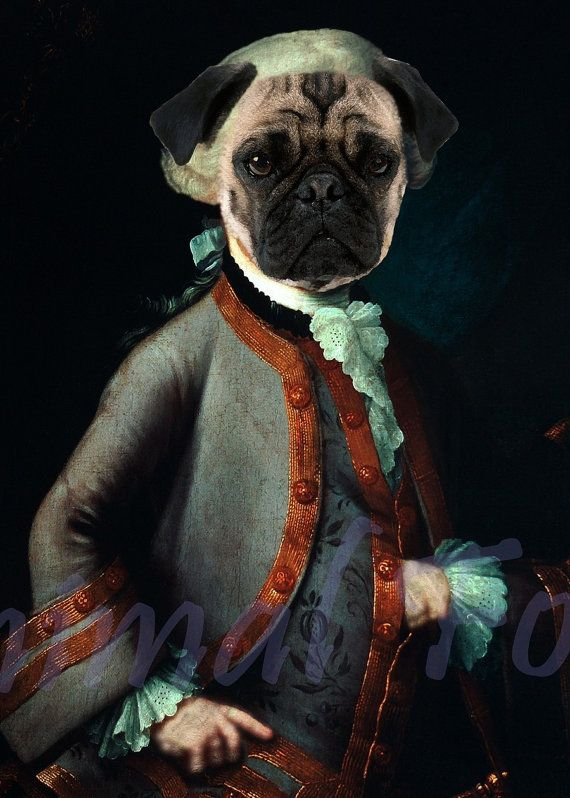 Pug Gang Amadeus Mozart Digital Art Altered Anthropomorphic Puppy