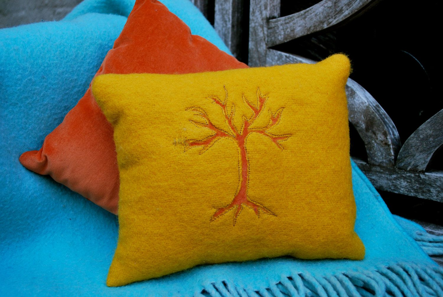 Reverse Applique Wool Tree Pillow. via Etsy.
