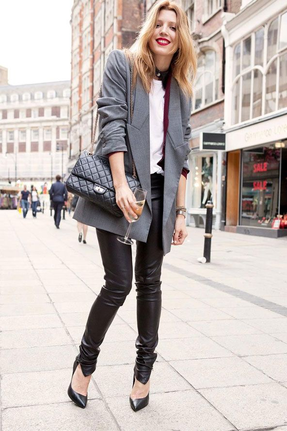 Womens Fashion Street Style Grey Mens Jacket And Leather Pants