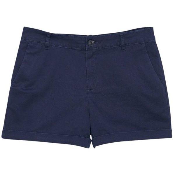 Mango Cotton Blend Shorts, Navy ($28) ❤ liked on Polyvore