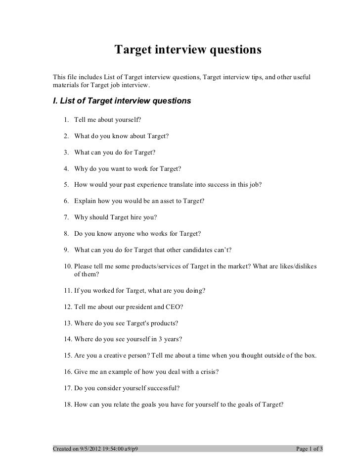 Target interview questions | I like this | Pinterest