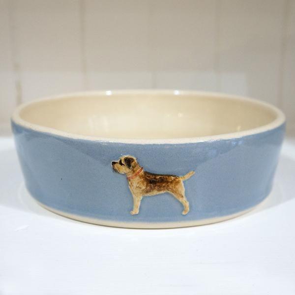 Jane Hogben Blue Border Terrier Dog Bowl Meg Morton Dog Bowls