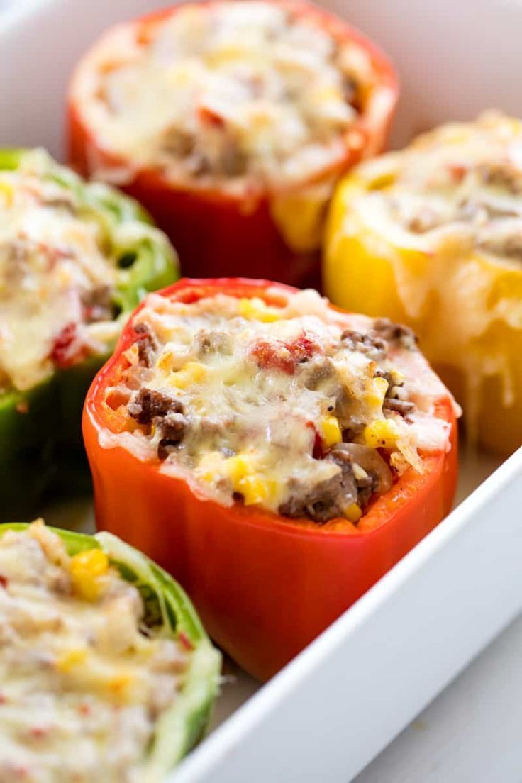 Stuffed Bell Peppers Stuffed Bell Peppers Ground Beef In 2020 Stuffed Peppers Recipes Food