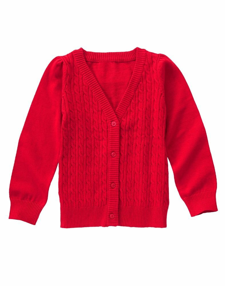 Gymboree Girls Medium 7/8 Real Red Cable Knit Cardigan Sweater NWT ...