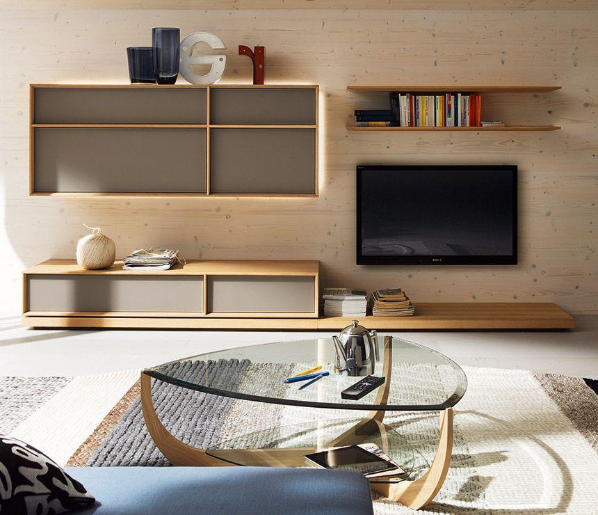 Modern Wall Units For Living Room: Luxury Modern Wall Units Shown In Oak