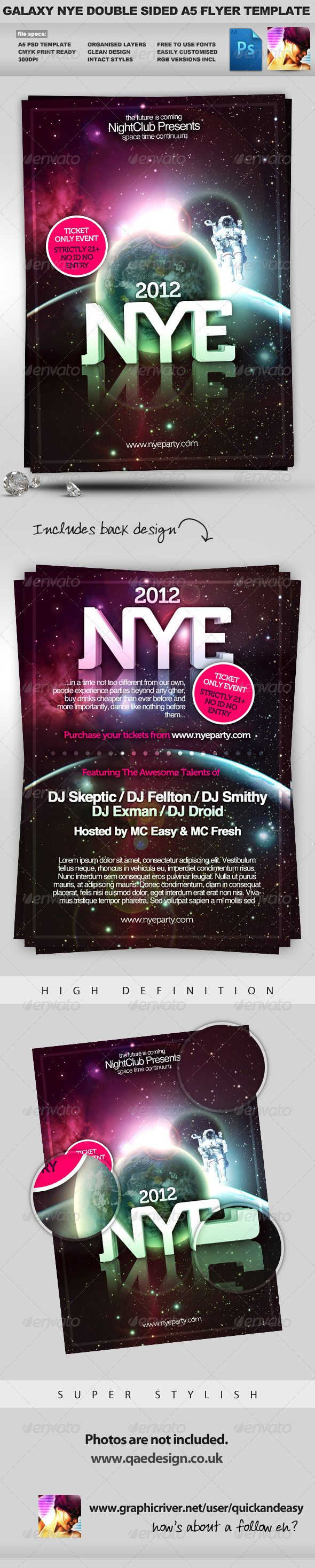 Galaxy Nye Double Sided A5 Psd Flyer Template Psd Flyer Templates Flyer Template Flyer