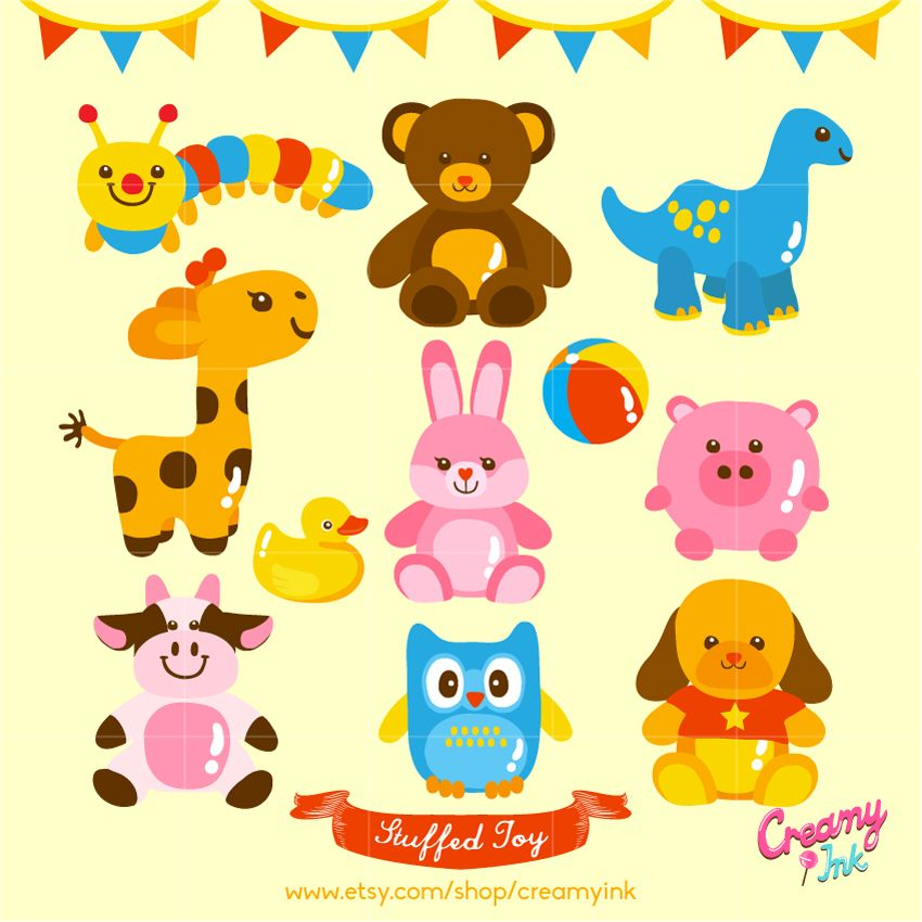 Cute Stuffed Toy Digital Clip Art Featuring Different Types Of Animal Toys Clipart Vector Design See More At Clip Art Digital Clip Art Illustration Design