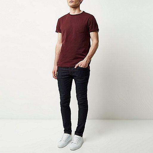 Dark red plain chest pocket t-shirt - plain t-shirts - t-shirts ...