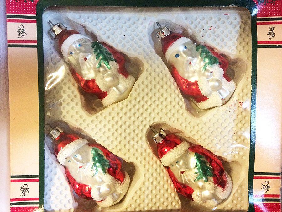 Vintage Poland Glass Santa Ornaments In Original Box 4 Poland