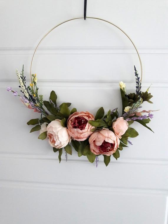 Modern Elegant Peony Wreath Minimalist Gift Home Decor Wedding Decoration Hoop Wreath