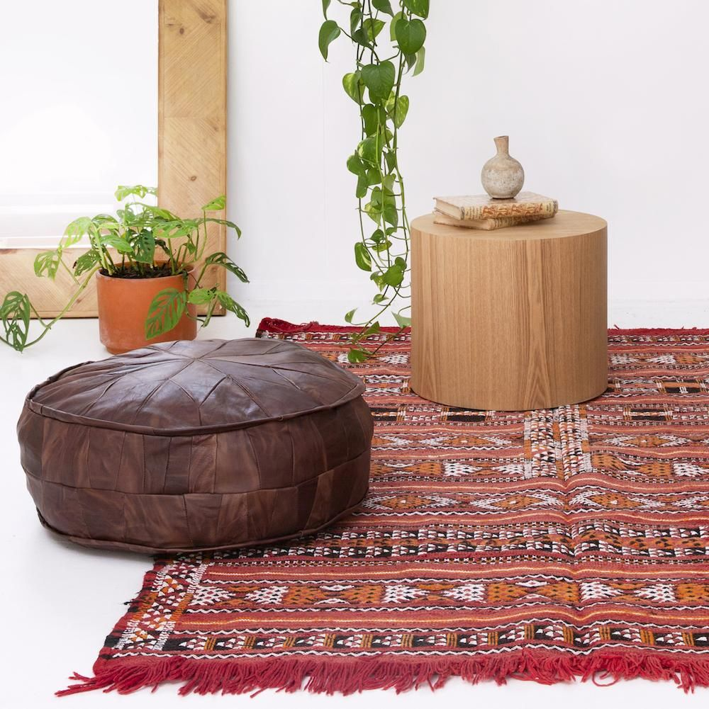 Large Leather Pouffe Multiple Colours Kilim Cushions Colorful