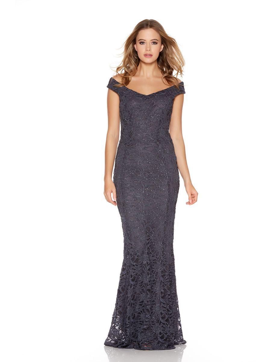 3fa48c44e90e Grey Glitter Lace Bardot Fishtail Maxi Dress - Quiz Clothing ...