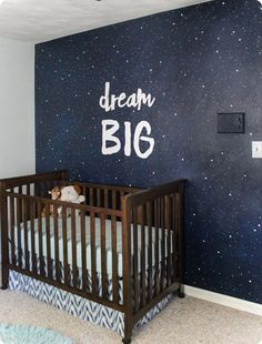 This night sky mural makes such a gorgeous focal wall in the nursery. It cost less than ten dollars to make and with this detailed tutorial, anyone can do it!
