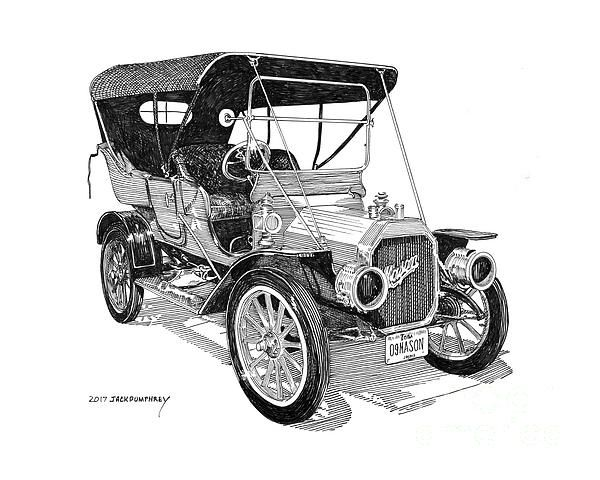 A pen ink drawing of the 1909 mason built by the maytag for The frederick motor company