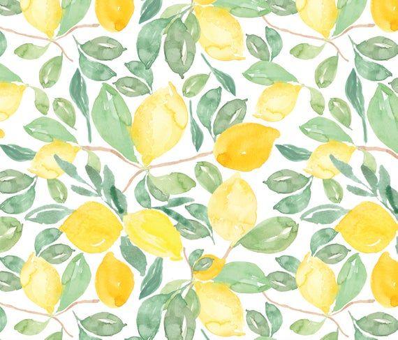 Watercolor Lemon Removable Wallpaper // Lemon Peel and