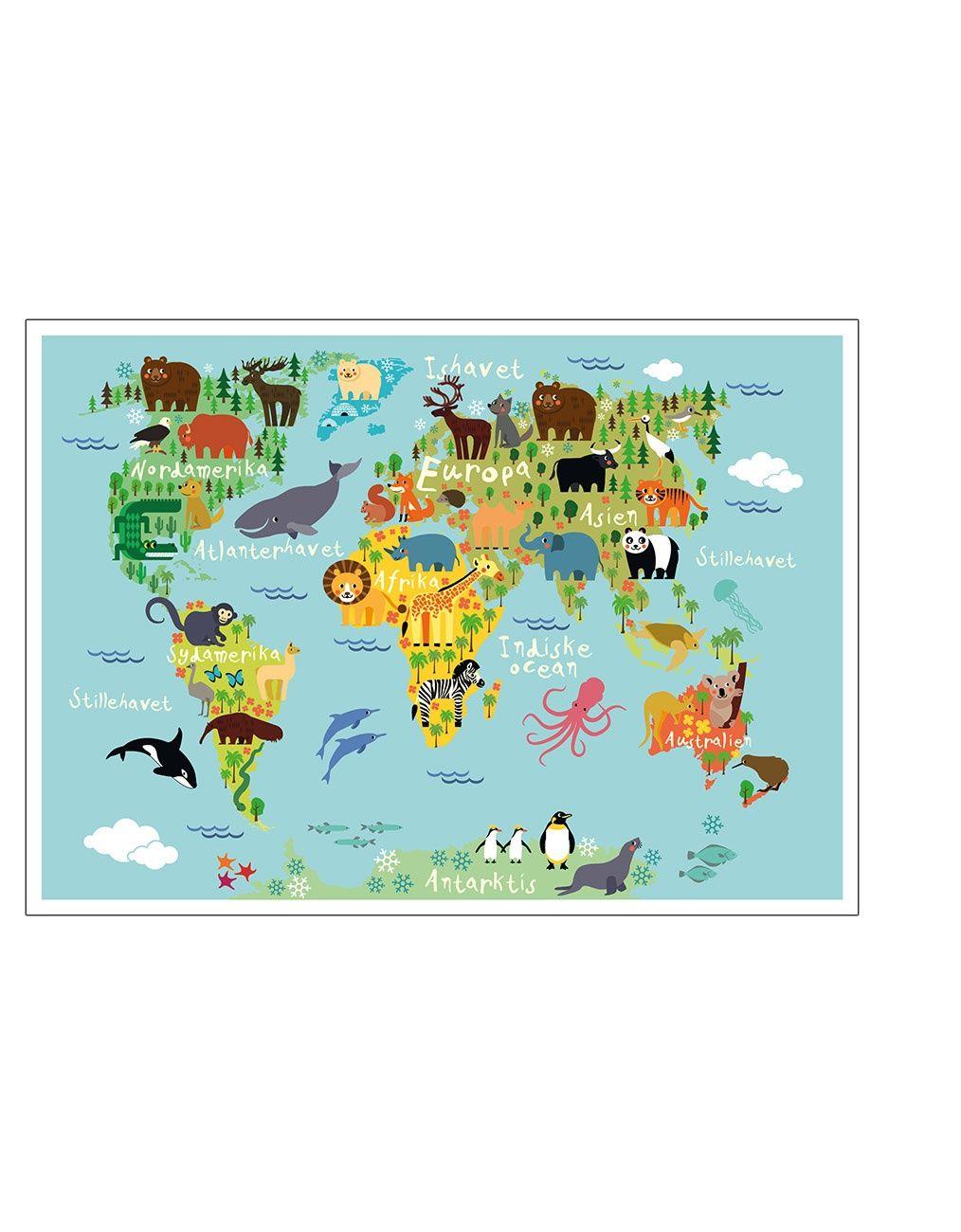 Verdenskort Med Dyr Ba Rneplakat Verdenskort Illustrerede Plakater Farver