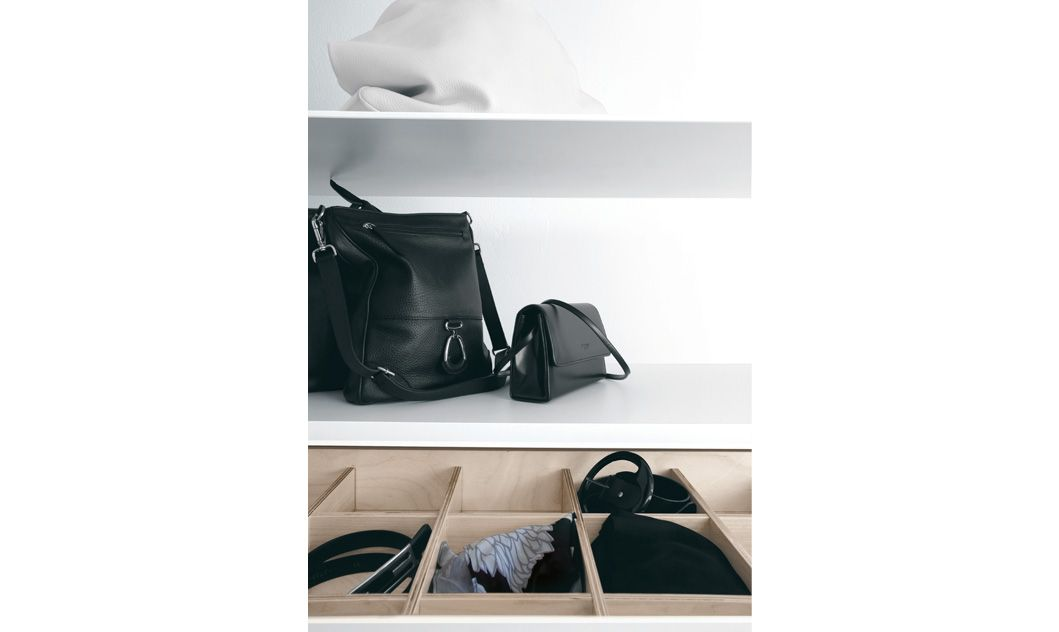 walk-in wardrobe with shoe rack in white, The adaptor kits allows fastening to the wall, sloped ceiling or drywall ceiling.