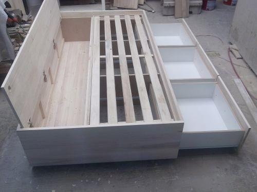 Cama De Una Plaza Con Cajones Y Baúl Para Colchón De 1,90x80
