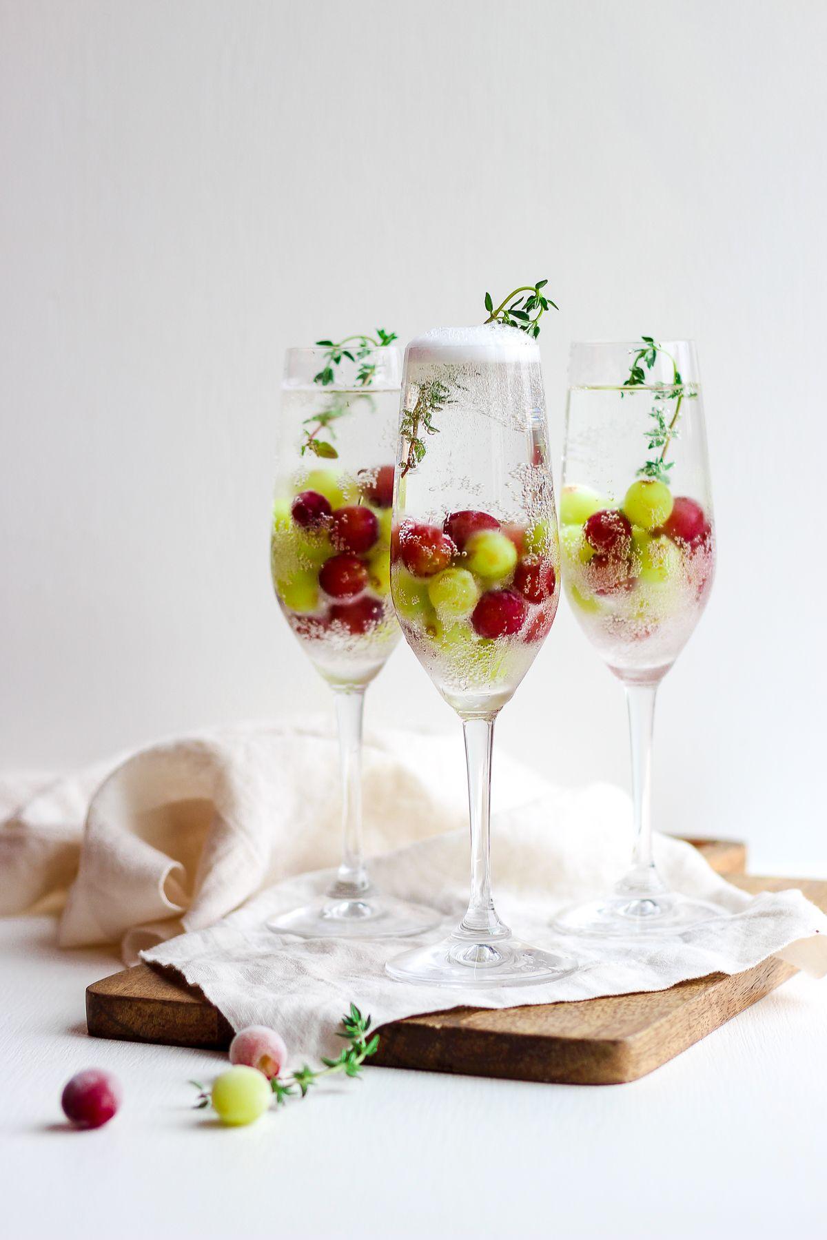 Frozen Grape Champagne Mocktails - The Wooden Skillet