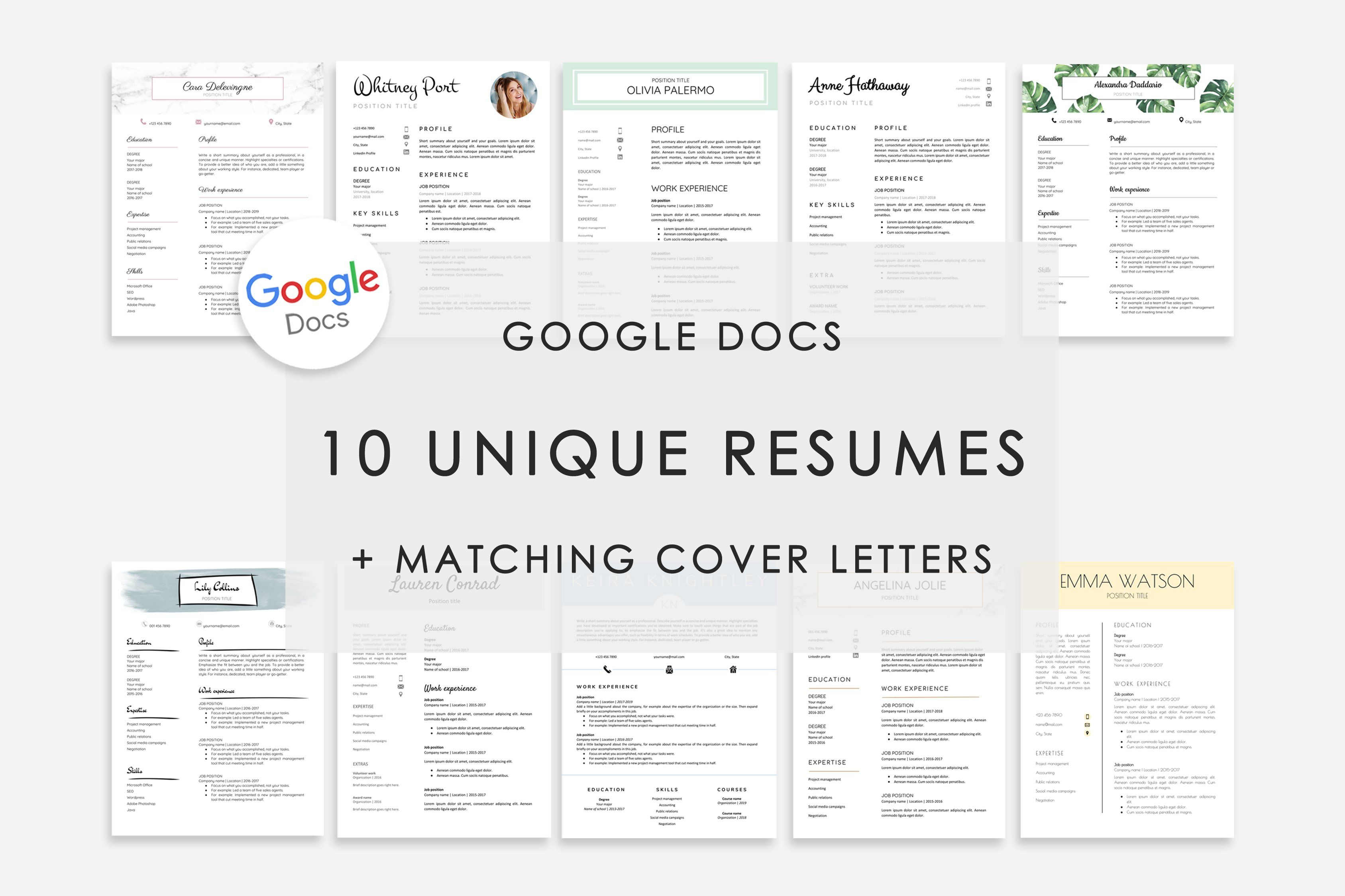 Resume Template Google Docs 10x Resume template free