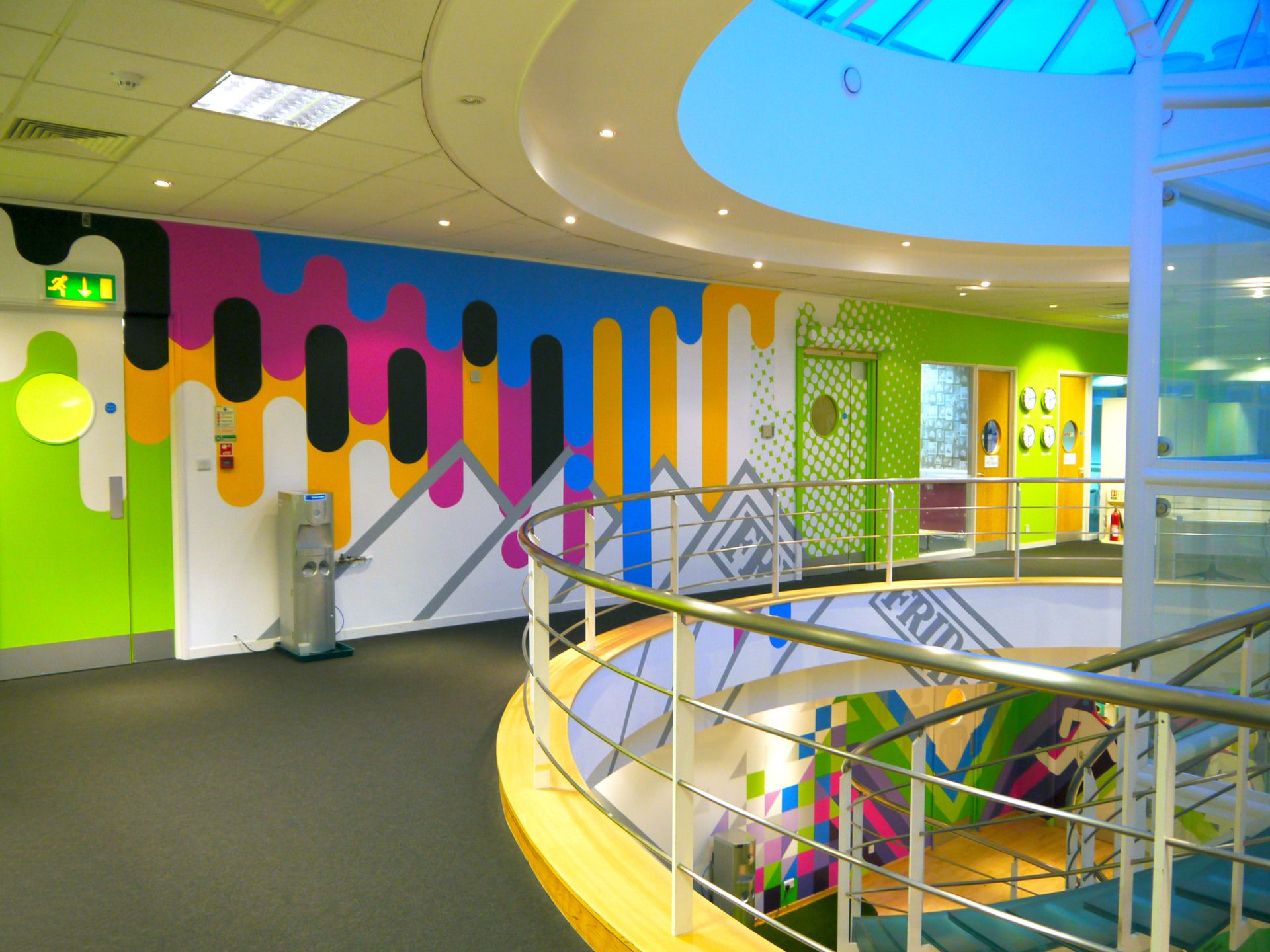 Hand Painted Office Murals For Digital Media Company Art Graphics