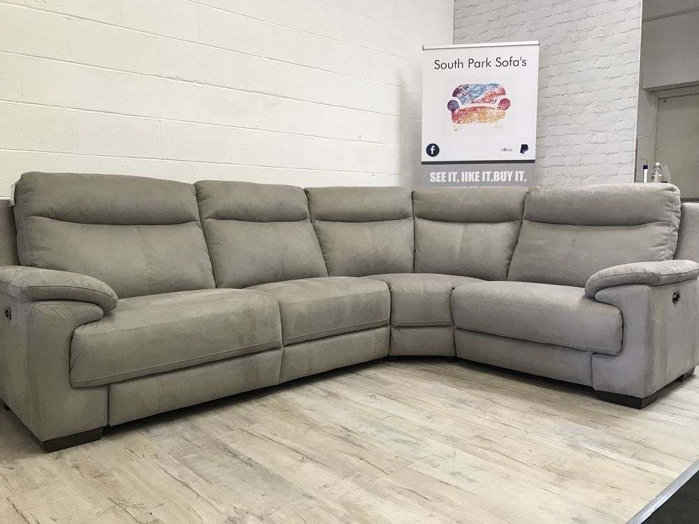 F V Large Grey 3 Piece Corner Sofa Saddle Soft Fabric Electric Recliner 3 Piece Corner Sofa Corner Sofa Sofa