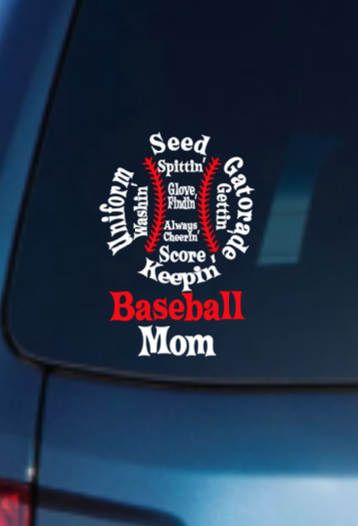 Baseball Mom Home Decor Car Truck Window Decal Sticker