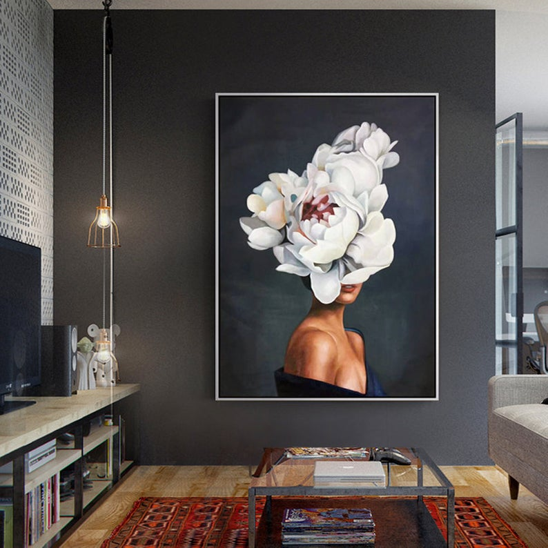 Woman Portrait And Flower Original Oil Painting Modern Wall Etsy Home Decor Wall Art Wall Art Painting Modern Wall Art