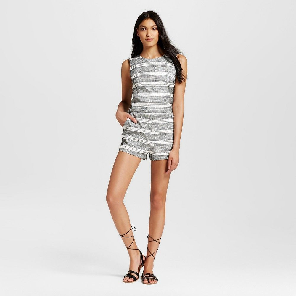 Women's Striped Romper with Overlapped Back Black/White