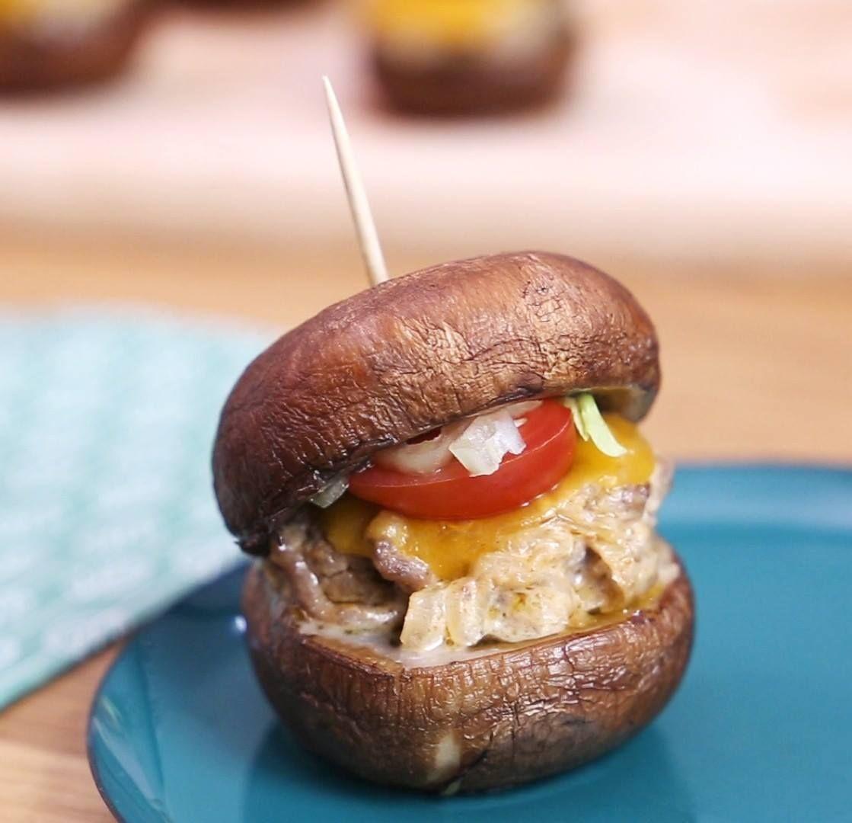 Recette champignons farcis façon « burgers »