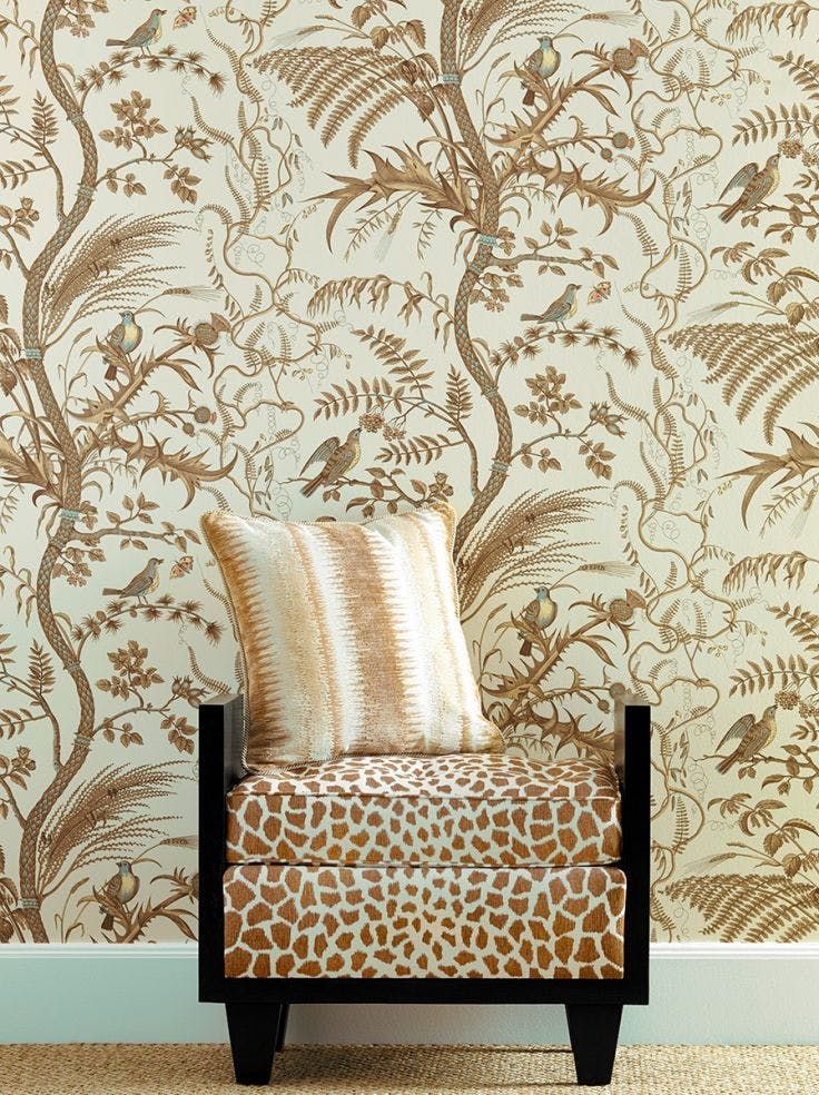 Bird And Thistle Beige Kravet Fabric houses, Wall