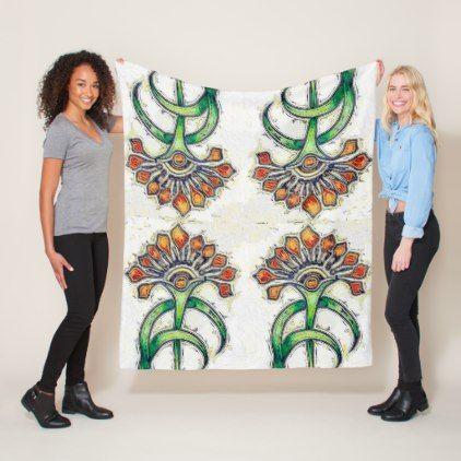 Art Deco Golden Floral Fleece Blanket - floral style flower flowers stylish diy personalize