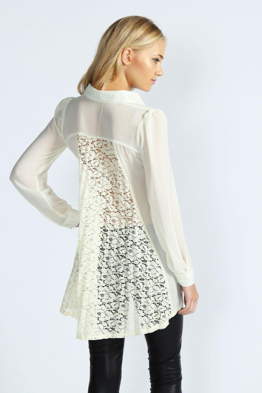 Boohoo Jessica Pleated Lace Back Chiffon Blouse   Clothes