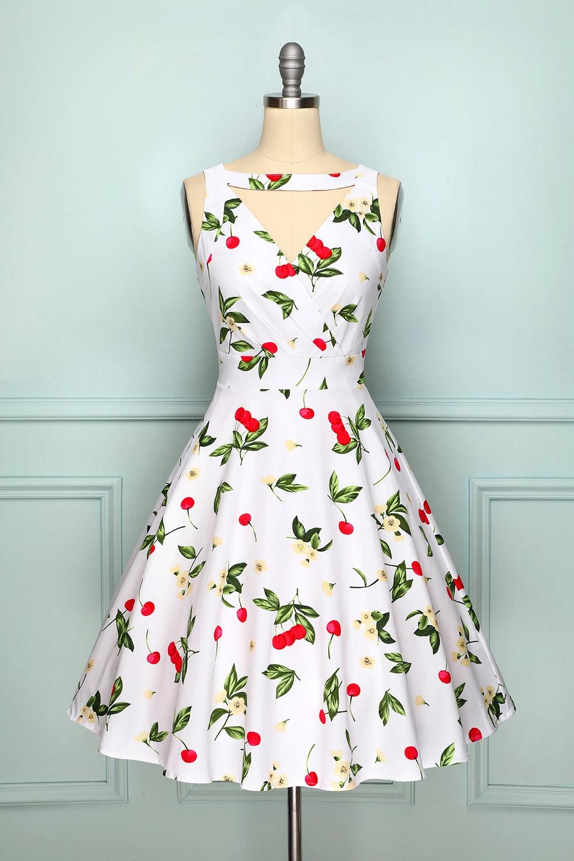 White Cherry Dress Cherry Print Dress Beautiful Red Dresses Cherry Dress [ 1500 x 1000 Pixel ]