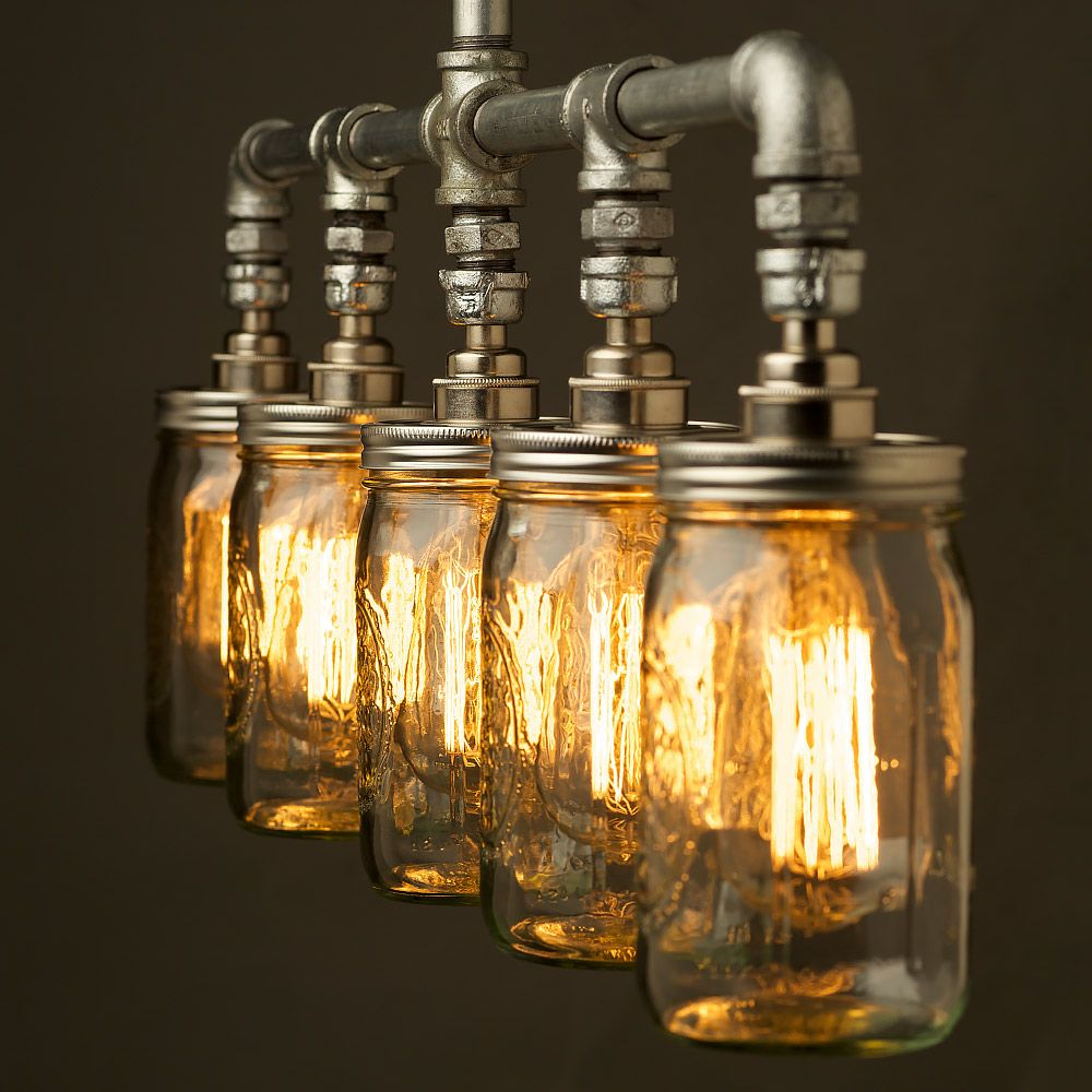 5 teardrop bulb and jar plumbing pipe chandelier end lighting vintage galvanised plumbing pipe widemouth jar chandelier in galvanised steel water pipe and balls jar fitting light that can be used to light up a table or arubaitofo Image collections