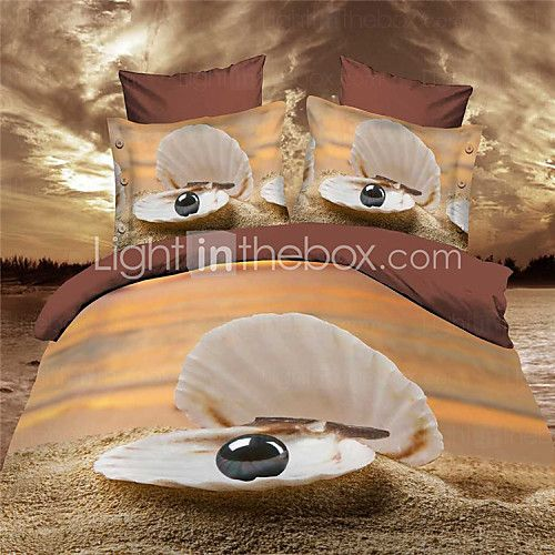 Shuian®3D Printing Bedding Sets 100% Fabric Comforter Set Duvet Cases Pillow Covers Flat Bed Sheet Home Textiles - USD $66.99