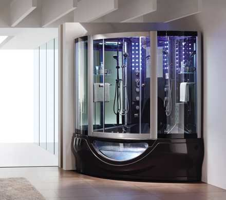aquapeutics luxury steam shower with waterproof tv radio massage jets luxury housing trends - Luxury Steam Showers