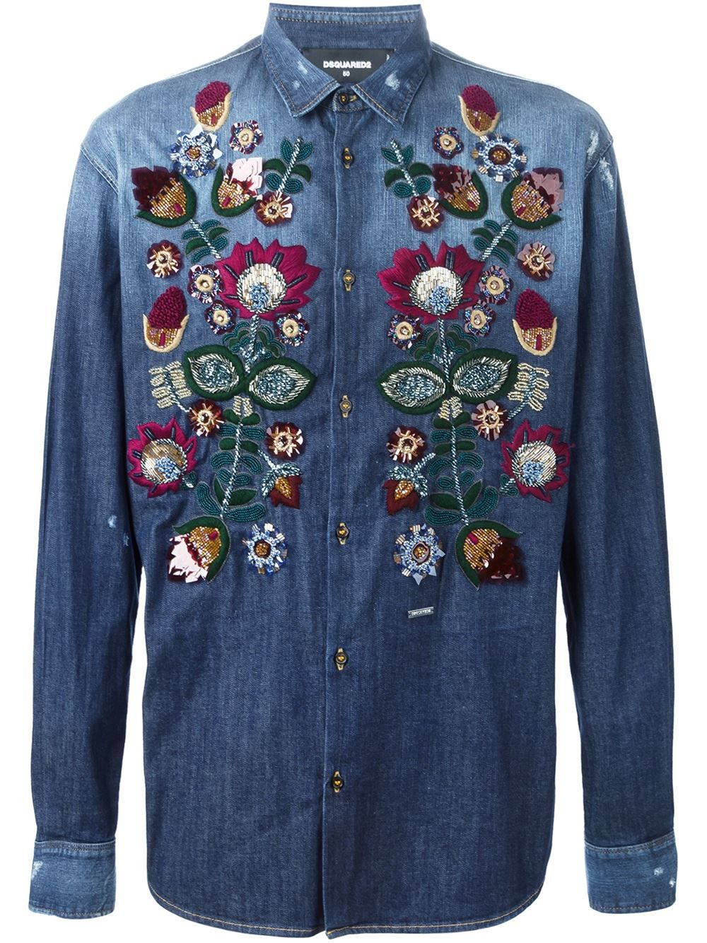 Flowered embroidered denim shirt dsquared crocheted flowers buy dsquared mens blue flower embroidered denim shirt starting at similar products also available ccuart Images