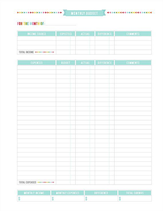 Monthly Budget Sheet Money Matters Pinterest Monthly budget - Printable Expense Report