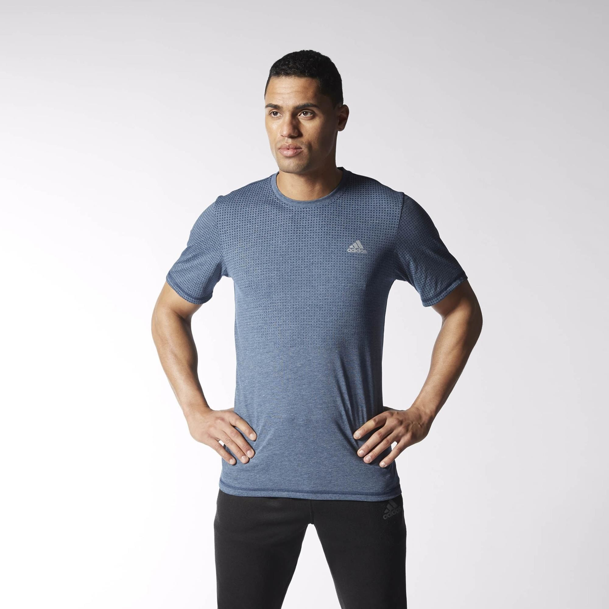 Grey adidas Freelift Climacool Short Sleeve Mens Training Top